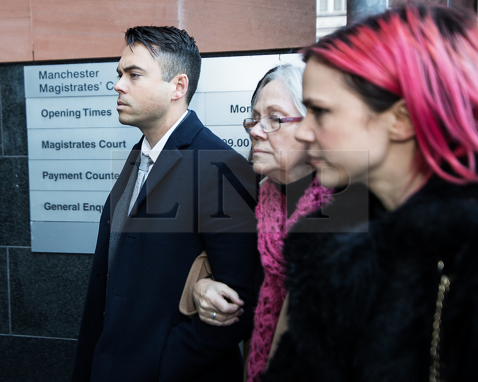 © Licensed to London News Pictures . 28/11/2017. Manchester, UK. Coronation Street actor BRUNO LANGLEY arrives at Manchester Magistrates' Court to face two charges of sexual assault . Two different women contacted police to report being assaulted at a music venue on Swan Street in the Northern Quarter of Manchester City Centre , in the early hours of Sunday 1st October 2017 . Langley plays the role of Todd Grimshaw in the soap opera . ITV terminated his contract in October , following an internal investigation in to the allegations . Photo credit: Joel Goodman/LNP