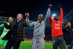 Jeroen Zoet #1 of FC Utrecht, Coach John van den Brom # of FC Utrecht, Jean-Christophe Bahebeck #9 of FC Utrecht, Lamine Sane #20 of FC Utrecht celebrate after the semi final KNVB Cup between FC Utrecht and Ajax Amsterdam at Stadion Nieuw Galgenwaard on March 04, 2020 in Amsterdam, Netherlands