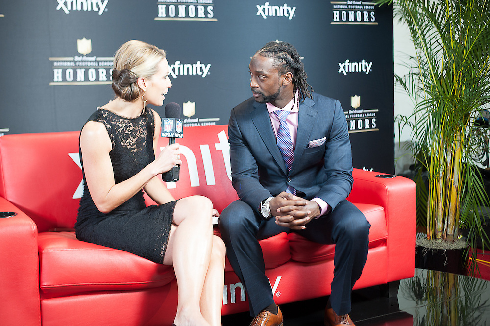 Charles Tillman being interviewed by NFL networks Alex Flanagan at the Mahalia Jackson Theatre NFL Honors in New Orleans, Louisiana on Feb.2 2013.