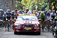 Sykkel<br /> Foto: PhotoNews/Digitalsport<br /> NORWAY ONLY<br /> <br /> Illustration picture of the peloton during race neutralisation Prudhomme Christian of ASO cycling director during the stage 3 of the 102nd edition of the Tour de France 2015 with start in Antwerp and finish in Huy, Belgium (159 kms) *** HUY, BELGIUM - 6/07/2015