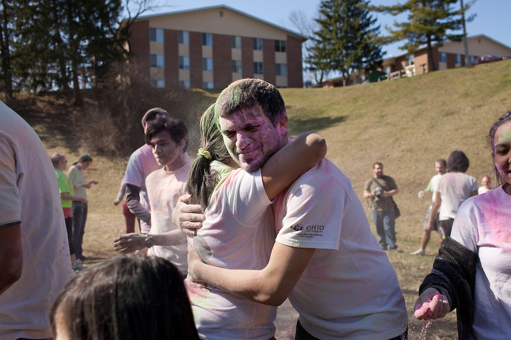 The Indian Students Association hosted a Holi Festival of Colors event outside the Carriage Apartments in Athens, Ohio on Saturday, March 30, 2013. Photo by Chris Franz