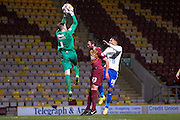 Bury midfielder Tom Soares  watches as Bradford City goalkeeper Ben Williams  collects the ball during the The FA Cup match between Bradford City and Bury at the Coral Windows Stadium, Bradford, England on 19 January 2016. Photo by Simon Davies.