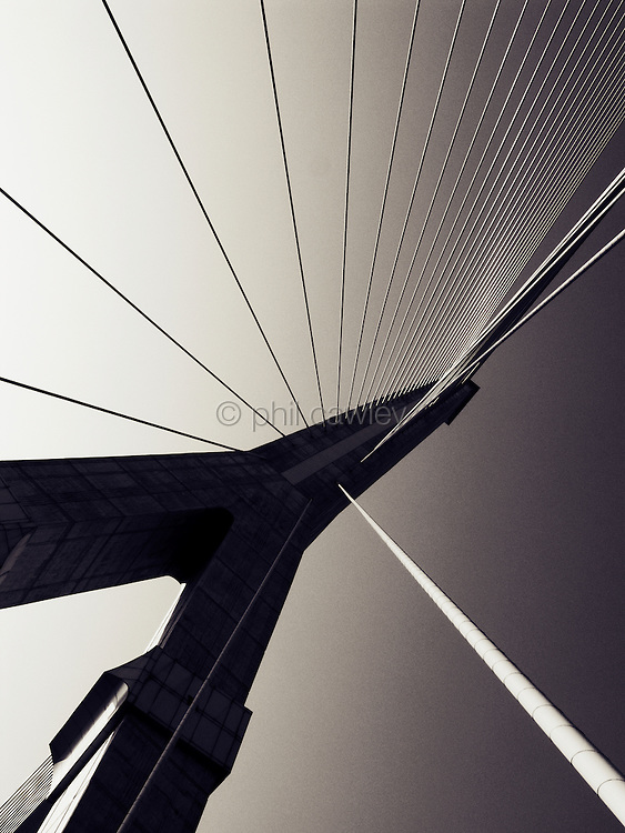 Rama VIII Bridge.The13th bridge over the Chao Phraya river.<br /> Construction started in 1998 it took 24 months to complete and has a length of 475 meters. It crosses the Chao Phraya River in Bangkok Thailand.