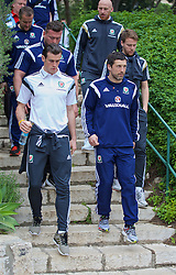 HAIFA, ISRAEL - Saturday, March 28, 2015: Wales' Gareth Bale and head of fitness and science Ryland Morgans on a team walk ahead of the UEFA Euro 2016 qualifying Group B match against Israel. (Pic by David Rawcliffe/Propaganda)