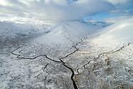 The three tributaries of the River Affric.  Allt Gleann Gniomhaidh, Allt Cam-ban and Allt a' chomhlain meet at the base of Ciste Dhubh.  Glen Affric, Scotland.
