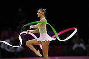 11.08.2012. London, England.  Rythmic Gymnastics Final  Individual All Round Evgeniya Kanaeva RUS  KANAEVA Rus took gold, DMITRIEVA Rus took silver and CHARKASHYNA BLR took bronze.  2012 London Olympic Games.