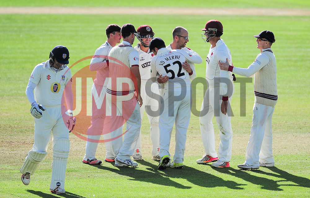 Jack Leach celebrates the wicket of Gordan Muchall with his Somerset teammates.   - Mandatory by-line: Alex Davidson/JMP - 04/08/2016 - CRICKET - The Cooper Associates County Ground - Taunton, United Kingdom - Somerset v Durham - County Championship