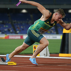 YOKOHAMA, JAPAN - MAY 11: Emile Erasmus of South Africa at the start of the mens 4x100m relay during day 1 of the IAAF World Relays at Nissan Stadium on May 11, 2019 in Yokohama, Japan. (Photo by Roger Sedres/Gallo Images)