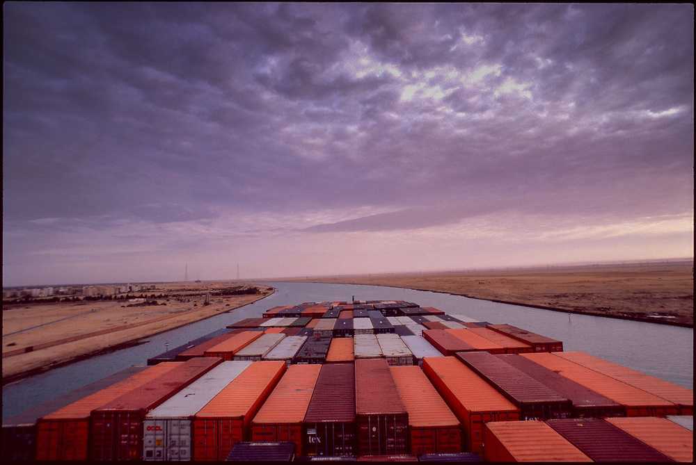 Suez Canal.<br /> From the book &quot;Around the World in 40 Feet&quot;, commissioned by Nippon Yusen Kaisha, Japan. A 125,000 km epic about travel, trade and interconnected cultures, following a shipping container as it works its way across six continents.