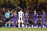 Match referee Felix Brych shouts order during the UEFA Champions League Final match between Real Madrid and Juventus at the National Stadium of Wales, Cardiff, Wales on 3 June 2017. Photo by Giuseppe Maffia.<br /> Giuseppe Maffia/UK Sports Pics Ltd/Alterphotos