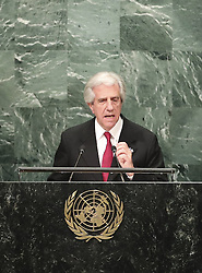 UNITED NATIONS, Sept. 20, 2016 (Xinhua) -- Uruguayan President Tabare Vazquez speaks at the 71st session of the United Nations General Assembly at the UN headquarters in New York, on Sept. 20, 2016. The 71st session of the UN General Assembly on Tuesday opened its annual high-level General Debate at the UN headquarters in New York, with a focus on pushing for the world's sustainable development. (Xinhua/Wang Ying) (Credit Image: © Wang Ying/Xinhua via ZUMA Wire)