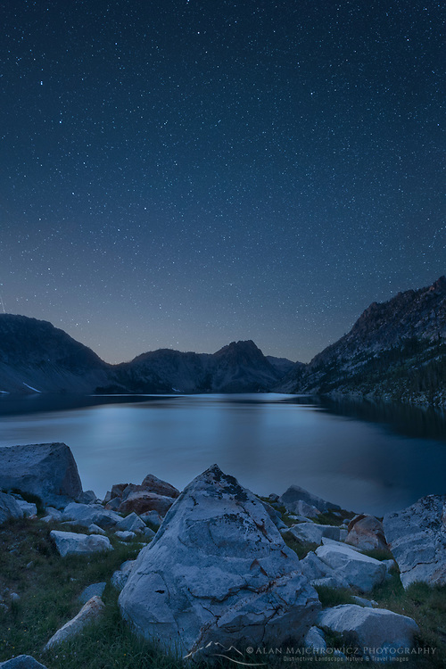 Stars over Sawtooth Lake in the night sky. Sawtooth Mountains Idaho