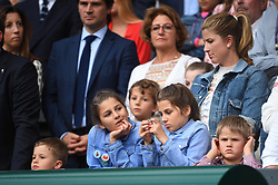 Mirka Federer, wife of Roger Federer, and their children during the men's singles final on day thirteen of the Wimbledon Championships at the All England Lawn Tennis and Croquet Club, Wimbledon, UK, July 14, 2019. Photo by ABACAPRESS.COM
