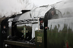 © Licensed to London News Pictures. 07/03/2014. Hampshire, UK. The steam locomotive '35028 - Clain Line' on the Watercress Line today, 7th March 2014, which is the first day of the 'spring steam gala' on the Watercress Line. The railway line, operated by Mid Hants Railway Ltd, passes between Alresford and Alton in Hampshire. The line is named after its use in the past for transporting freshly cut watercress from the beds surrounding Alresford to London. Photo credit : Rob Arnold/LNP