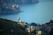 Villages of Corniglia and Manarola, Mediterranean Sea, Cinque Terre, Liguria, Italy