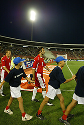 BELGRADE, SERBIA & MONTENEGRO - Wednesday, August 20, 2003: Wales' Ryan Giggs walks out to face Serbia & Montenegro before the UEFA European Championship qualifying match at the Red Star Stadium. (Pic by David Rawcliffe/Propaganda)