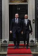 United States President Barak Obama leaves 10 Downing Street in London following talks with British Prime Minister David Cameron.<br /> Picture by Andrew Timms/Focus Images Ltd +44 7917 236526<br /> 22/04/2016