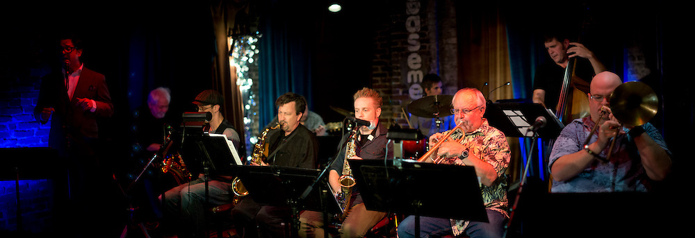 The Double-A Octet, led by bassist Chris Autry and trombonist Roy Agee, live at The Basement in Nashville, TN.