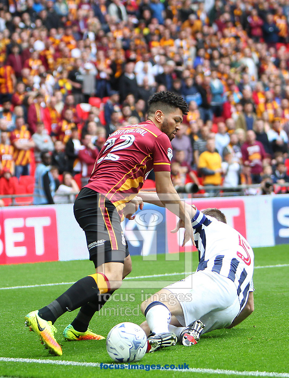 Bradford City Nathaniel Knight-Percival battles with Millwall defender Tony Craig during the Sky Bet League 1 play-off final at Wembley Stadium, London<br /> Picture by Glenn Sparkes/Focus Images Ltd 07939664067<br /> 20/05/2017