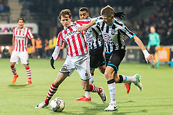 (L-R) Craig Goodwin of Sparta Rotterdam, Tim Breukers of Heracles Almelo during the Dutch Eredivisie match between Heracles Almelo and Sparta Rotterdam at Polman stadium on December 14, 2017 in Almelo, The Netherlands