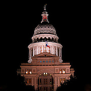 The Texas State Capitol in Austin Texas at night