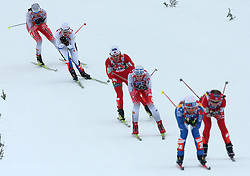 Katja Visnar (L) and Vesna Fabjan (in the middle) of Slovenia at Ladies` Sprint Free Quarterfinals Cross-country race at  FIS Nordic World Ski Championships Liberec 2008, on February 24, 2009, Vestec, Liberec, Czech Republic. (Photo by Vid Ponikvar / Sportida)