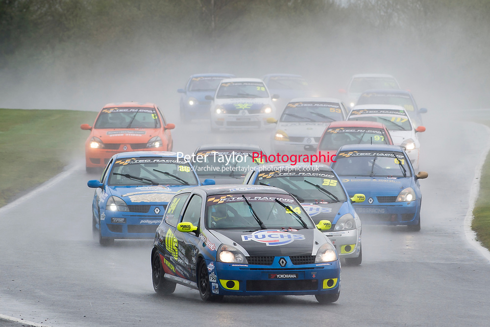 #34 Scott Sharp Renault Clio 128 during K-Tec Racing Clio 182 Championship as part of the 750 Motor Club at Oulton Park, Little Budworth, Cheshire, United Kingdom. April 01 2017. World Copyright Peter Taylor/PSP. Copy of publication required for printed pictures.  Every used picture is fee-liable. http://archive.petertaylor-photographic.co.uk