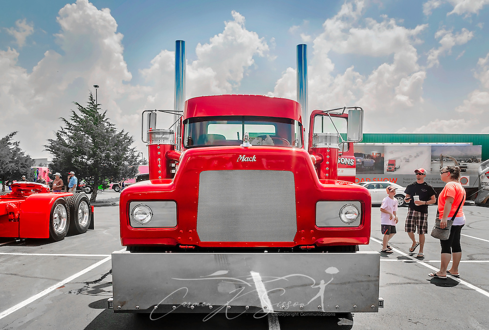 A 1991 Mack RD686, restored by Dickerson Custom Trucks, waits to be judged at the 34th annual Shell Rotella SuperRigs truck beauty contest, June 11, 2016, in Joplin, Missouri. SuperRigs, organized by Shell Oil Company, is an annual beauty contest for working trucks. Approximately 89 trucks entered this year's competition. The truck received the SuperRigs show truck award. (Photo by Carmen K. Sisson/Cloudybright)