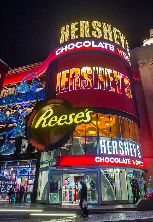 LAS VEGAS - NOV 24 : The Hershey's Chocolate World store in New york-New York hotel in Las Vegas on November 24, 2016. The 13,000-square-foot, two-story store opened in June 2014.