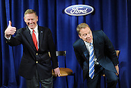 WILMINGTON, DE - MAY 10: From left, Ford President and CEO Alan Mulally, Chairman of the Board William Ford address the media during a news conference after the Ford 57th Annual Meeting of Sharegolders May 10, 2012 in Wilmington, Delaware. (Photo by William Thomas Cain/Getty Images)