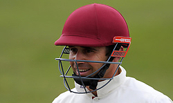 Somerset's Johann Myburgh is all smiles after scoring 150- Photo mandatory by-line: Harry Trump/JMP - Mobile: 07966 386802 - 04/04/15 - SPORT - CRICKET - Pre Season - Day 3 - Somerset v Durham MCCU - Taunton Vale, Somerset, England.