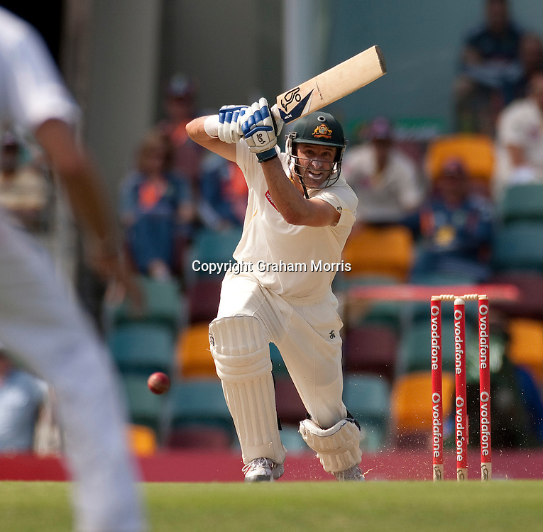 Michael Hussey bats during the first Ashes Test Match between Australia and England at the Gabba, Brisbane. Photo: Graham Morris (Tel: +44(0)20 8969 4192 Email: sales@cricketpix.com) 26/11/10