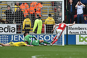 Rotherham United midfielder Lee Frecklington (8) celebrates scoring goal to go 1-0 up during the Sky Bet Championship match between Rotherham United and Leeds United at the New York Stadium, Rotherham, England on 2 April 2016. Photo by Ian Lyall.
