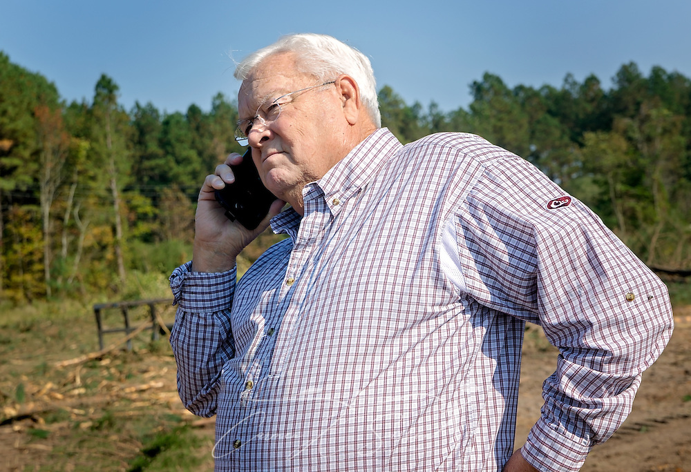 Tracy Gunter Jr., owner of Tracy's Logging, answers a phone call at a job site, Nov. 16, 2016, in Steadham, S.C. He and his son, Tracy Gunter III, own and operate Tracy's Logging and T3 Chipping, where they oversee four logging crews and two chipping crews, averaging 300 loads per week. (Photo by Carmen K. Sisson)
