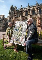 A copy of the Rosslyn panel that was stolen from the Great Tapestry of Scotland has been presented to the trustees after the original stitching team recreated their original. Pictured with the replacement outside Rosslyn Chapel are Co-ordinator Dorie Wilkie and artist Andrew Crummy.<br /> © Dave Johnston/ EEm