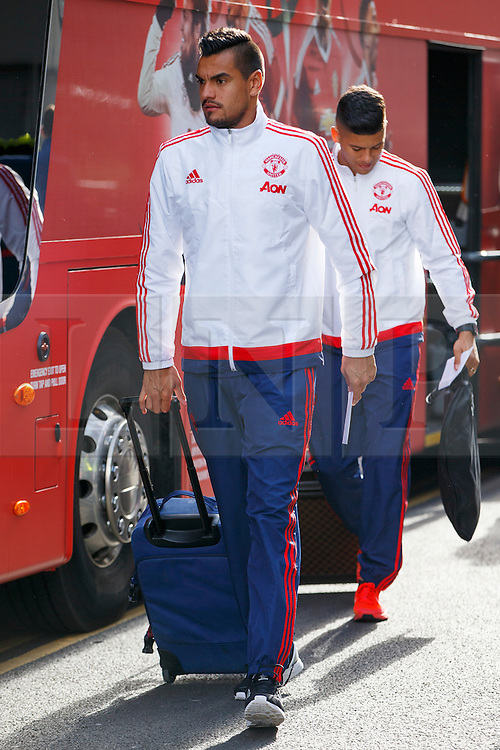 © Licensed to London News Pictures. 20/05/2016. London, UK. Manchester United player SERGIO ROMERO and the team arrive at their hotel in Wembley, London on Friday, 20 May 2016, ahead of the FA Cup final against Crystal Palace in Wembley Stadium. Photo credit: Tolga Akmen/LNP