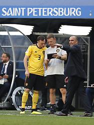 Thomas Vermaelen of Belgium, Belgium coach Roberto Martinez during the 2018 FIFA World Cup Play-off for third place match between Belgium and England at the Saint Petersburg Stadium on June 26, 2018 in Saint Petersburg, Russia