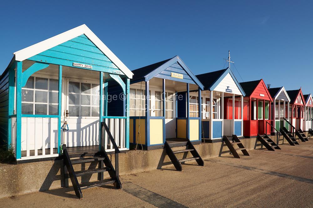 Great Britain England Suffolk Southwold Beach Huts stretching along promenade