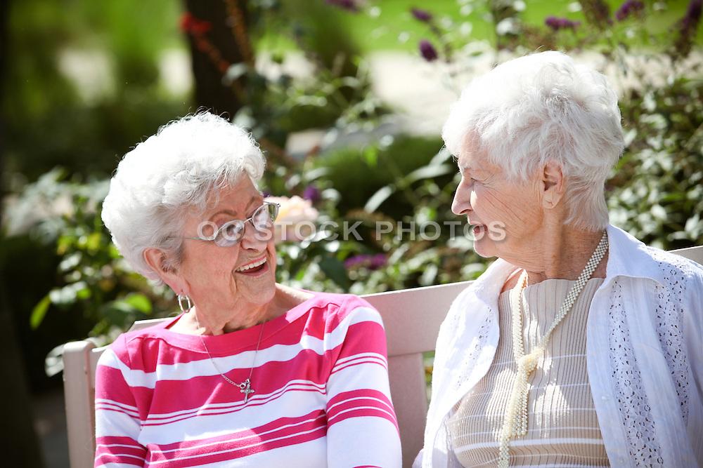 Friends Sitting In A Rose Garden Courtyard