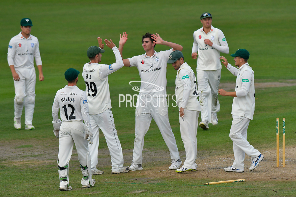 Wicket - Josh Tongue of Worcestershire celebrates taking the wicket of Dean Elgar of Surrey during the final day of the Specsavers County Champ Div 1 match between Worcestershire County Cricket Club and Surrey County Cricket Club at New Road, Worcester, United Kingdom on 13 September 2018.