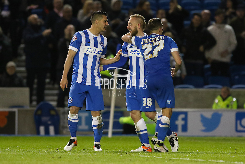 Brighton striker Jiri Skalak (38) celebrates the third goal during the Sky Bet Championship match between Brighton and Hove Albion and Queens Park Rangers at the American Express Community Stadium, Brighton and Hove, England on 19 April 2016. Photo by Phil Duncan.