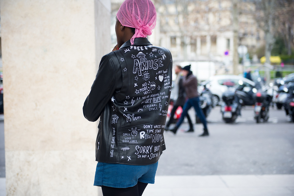 Black Leather Jacket with Writing, Outside Ellery FW2017
