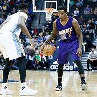 16 November 2016: Denver Nuggets guard Emmanuel Mudiay (0) defends on Phoenix Suns guard Eric Bledsoe (2) during the Denver Nuggets 120-104 victory over the Phoenix Suns, at the Pepsi Center, Denver, Colorado, USA.
