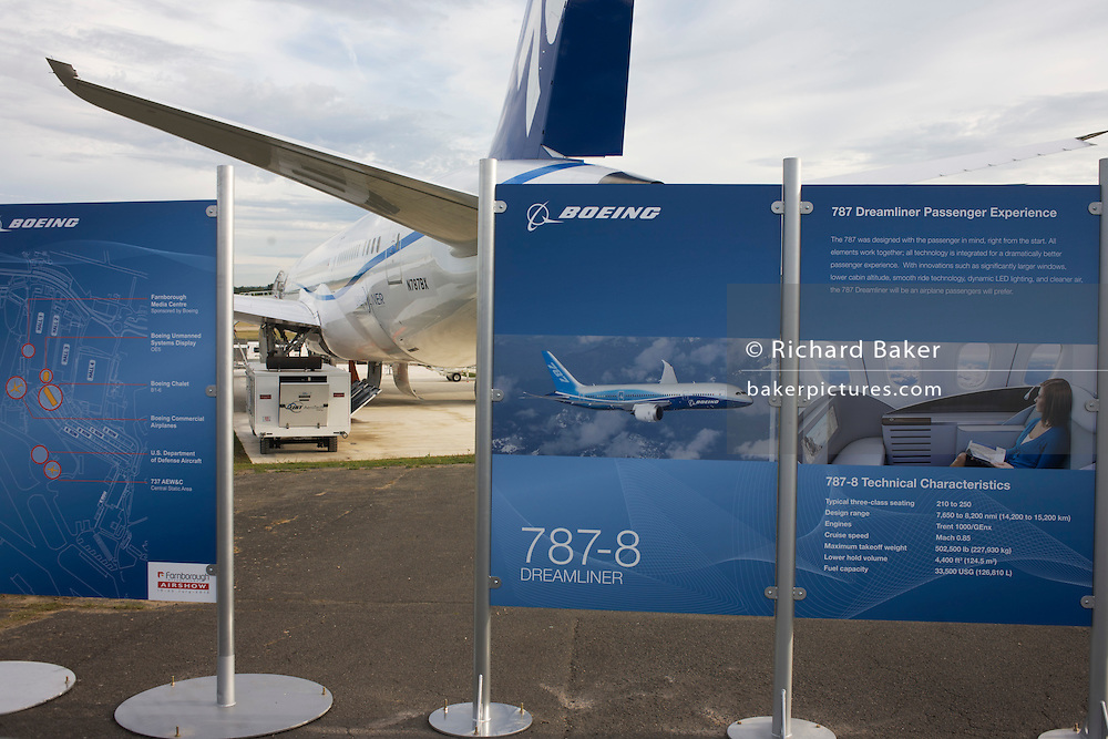 Boeing ad presentation and their 787 Dreamliner (N787BX) at the Farnborough Airshow.
