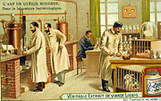 Bacteriological laboratory, France, 1890s. Chromolithograph c1900.