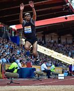 Brandon Roulhac (USA) leaps in the Triple Jump during the Sainsbury's Birmingham Grand Prix IAAF Diamond League Meeting at Alexandra Stadium, Birmingham, West Midlands, England on June  07  2015. (Steve Flynn/Image of Sport)