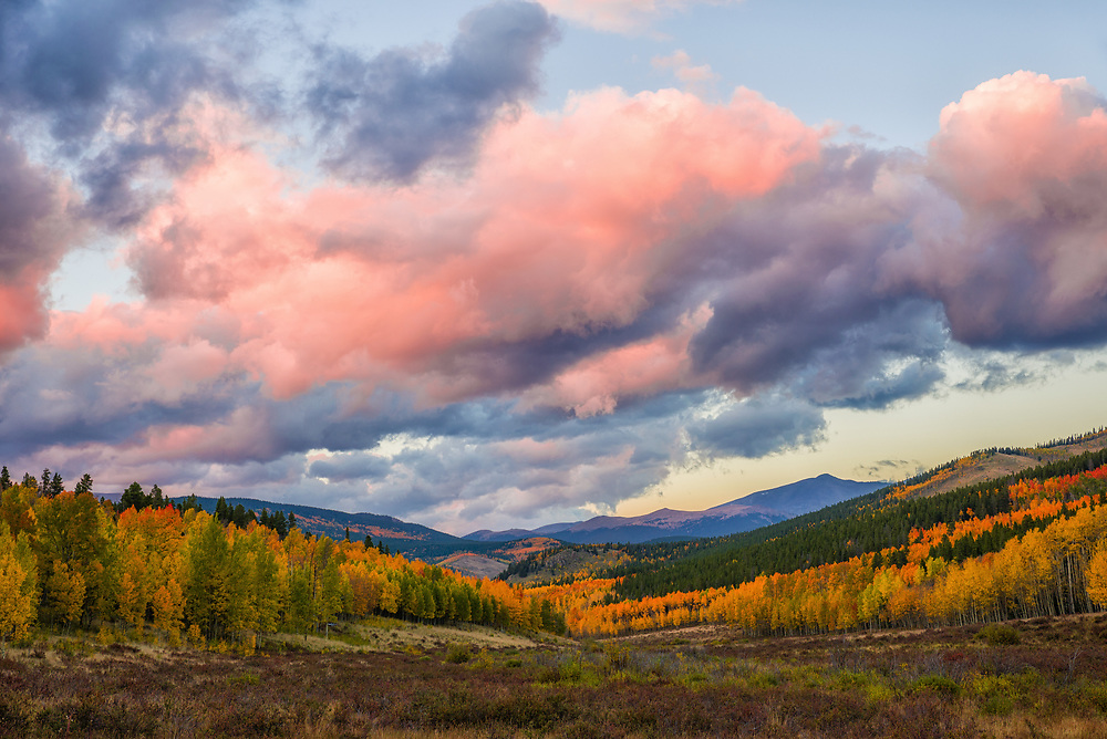 This is a sunset picture taken on Kenosha Pass in Colorado during autumn.<br /> <br /> Camera <br /> NIKON D610<br /> Lens <br /> 24.0-70.0 mm f/2.8<br /> Focal Length <br /> 56<br /> Shutter Speed <br /> 1/15<br /> Aperture <br /> 9<br /> ISO <br /> 100