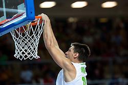 Gasper Vidmar of Slovenia dunks during friendly match between National teams of Slovenia and Montenegro for Eurobasket 2013 on August 23, 2013 in Arena Bonifika, Koper, Slovenia. (Photo by Matic Klansek Velej / Sportida.com)