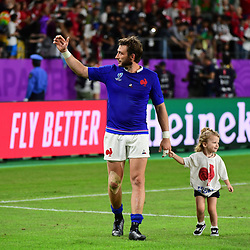 Maxime MEDARD of France and his daughter following the Rugby World Cup 2019 Quarter Final match between Wales and France on October 20, 2019 in Oita, Japan. (Photo by Dave Winter/Icon Sport) - Oita Stadium - Oita (Japon)
