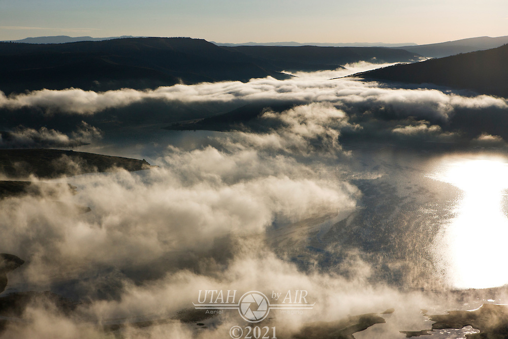 Low clouds over Scofield Reservoir. in the early morning.